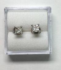 1/2 ct natural (REAL)  DIAMOND princess cut 3.5 mm stud earrings 14k white GOLD