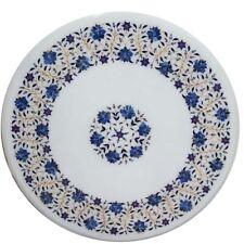 "24"" Marble coffee round Table Top semi precious stones Inlay Home decor"