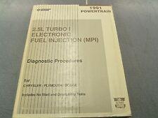 1991 Chrysler 2.5L Turbo I EFI MPI OEM Dealer Service Manual L@@K FREE Shipping!