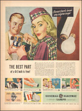 1948 Vintage ad General Electric Lamps`Art Retro Fashion Pretty model (112017)