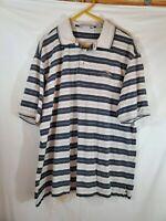 Nicklaus Mens Size XL Tan Blue Polo Golf Shirt Short Sleeve Striped Collared