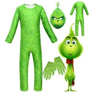 The Grinch Cosplay Costume Kids Boy Girl Christmas Party Halloween Outfits Gifts