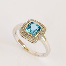 BLUE TOPAZ RING LIGHT SWISS BLUE TOPAZ REAL DIAMONDS 9K WHITE GOLD SIZE M1/2 NEW