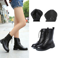 Womens Combat Lace up Army Worker Military Ankle Boots Flat Punk Goth Shoes Size