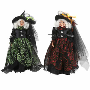 Set/2 One Hundred 80 Degrees Light Up Spiderweb Witch Halloween Doll Decor