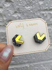 Wolf & Moon black glitter & metallic acrylic Studs earrings wood & gold plated
