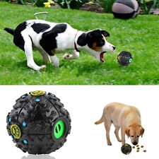 Pet Dog Tough Treat Training Chew Sound Activity Toy Squeaky Giggle Ball Black~M