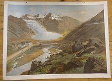 Schulwandbild. - Schweiz. - Furkapass. - Alpen. - Gletscher. Ca. 1900