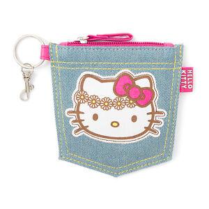 Hello Kitty Coin Purse Daisy Jean Denim Pocket Flowers Pink Bow Key Chain Sanrio