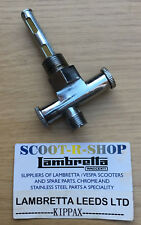 MOTORCYCLE PETROL - FUEL TAP 3/8 x 1/4. DUAL PLUNGER WITH RESERVE. CHROME NEW.
