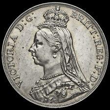 1888 Queen Victoria Jubilee Head Silver Crown, Narrow Date, EF