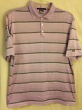 Tiger Woods Collection Dri-Fit Men`s L Purple W/Stripes & Metal TW Plate Logo