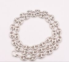 9mm Puffed Gucci Anchor Mariner Link Chain Necklace 14K White Gold Clad Silver