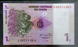 1997 CONGO 1 Centime BankNote UNC (+FREE 1 B/note) #D7683