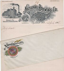 RARE National Brewing Letterhead w Architect Tank Drawing +Litho cover 1907 beer