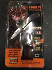 SCHRADE IHEA Lockback Knife w/ Leather Sheath & Collectors Pin USA