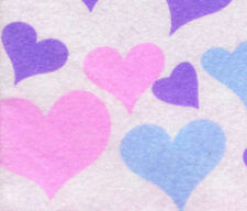 PRINTED PATTERN Felt White with Pink Purple Blue Hearts