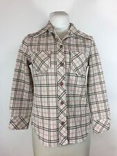 Vintage 1960s Pink Checkered Shirt Jacket Western Plaid Button Down Polyester