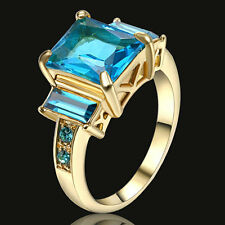 Size 7 Aquamarine Cut CZ Gem 3 Stone Engagement Ring yellow Gold Filled Jewelry