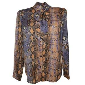 Camicia donna blusa in raso con colletto e foulard fantasia animalier viola line