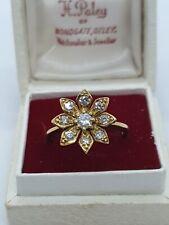 "VINTAGE 18ct Diamond Flower Ring 50 Pts size ""N"""