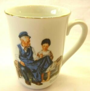 "Norman Rockwell Coffee Mug-""The Lighthouse Keeper's Daughter"" Gold Trim"