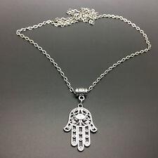 Hamsa Hand Charm Necklace, Hand of Fatima Spiritual Yoga Buddha Silver Plated