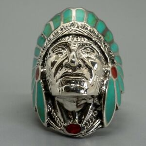 Turquoise Native American Red Indian Ring 925 silver Size T-Z5 feeanddave