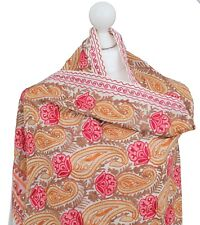 Ivory Paisley Heavy Embroidered Indian Shawls Stole 100% Pashmina Wool Handmade