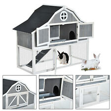 "59"" Wooden Rabbit Hutch 2-Story Small Animal Pet Poultry Hen House Cage W/ Run"
