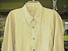 TED BAKER EMBROIDERED FLORAL  SHIRT PIN TUCKED FRONT PINSTRIPED MENS 7 XXXL