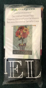 """NIP EVERGREEN Welcome Decorative House Yard Flag FLORAL TOPIARY 28"""" X 44"""""""