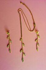 Vintage 1990's Rhinestone Pendant & Earrings * Deep Golden Vines & Leaves *