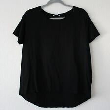 ZARA High Low Basic Black Short Sleeve T-Shirt - Women Size Large