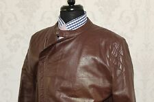 Remarquable Paul Smith Beurre Doux en Cuir Marron Motard Mod Veste Costume UK 40/42