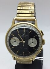 Vintage Breitling Top Time 1960s Reverse Panda Venus 188 Watch Gold Plated Rare
