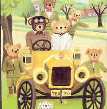 TEDDY BEAR FAMILY OUTING,VINTAGE CAR AUTOMOBILE,DOG,WOUDHUYSEN,MEDICI POSTCARD