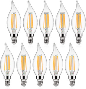 Pack of 10 E12 LED Candelabra Bulbs 5W 60W Equivalent Flame Tip 550LM Non-Dimmab
