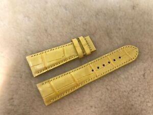**READ** 24mm/20mm Genuine Alligator Crocodile Leather Watch Strap Band Yellow
