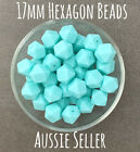 10 silicone beads AQUA BLUE 17mm hexagon BPA free baby teeth safe green bright