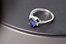 Stunning 10k Gold Blue Sapphire and Diamond Ring  size 6.75 US Mint A34-631