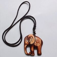 Hot Sale Bohemia Folk-custom Section Wooden Elephant Sweater Necklace Jewelry