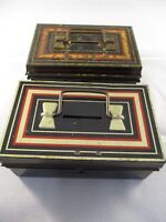 Vintage Retro Two Tin Plate Money Boxes  -  Burnett London