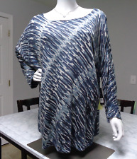 NIC+ZOE 1X BLUE ANGLED STROKES TUNIC TOP SWEATER SUGGESTED RETAIL $168 NWT