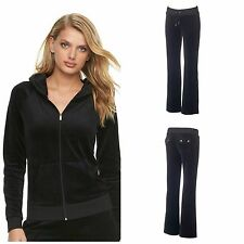 NWT Juicy Couture Velour Tracksuit Women Black Solid Jacket Pants size large