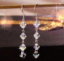 18K White Gold GP Made With Swarovski Crystal Stunning Cushion Cut Stud Earrings