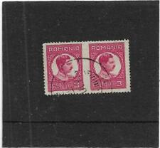 "ROMANIA 1930 KING CAROL II 3L RED ""IMPERFORATED BETWEEN PAIR"" SG.1176 FINE USED"