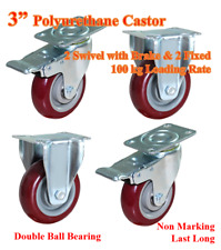 """3""""Polyurethane Castor Wheels,2 swivel with Brake,2 Fixed Casters,Trolley Bench"""