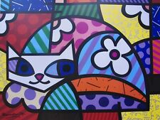 "ROMERO BRITTO ""SAMMY CAT"" Facsimile Signed Offset Lithograph Art"