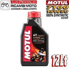 12 LITRI LT OLIO MOTORE MOTO MOTUL 7100 4T 15W50 100% SINTETICO ESTER MA2